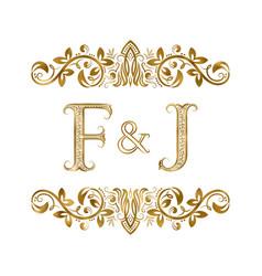 F and j vintage initials logo symbol vector