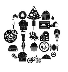 Fatty food icons set simple style vector