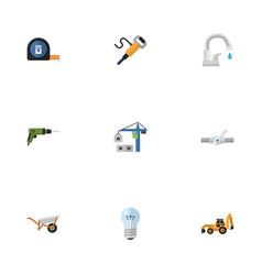 Flat icons pneumatic bulb electric screwdriver vector