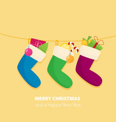 flat style cartoon christmas sock with candies vector image