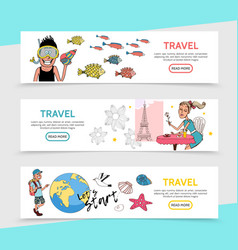 flat travel horizontal banners vector image
