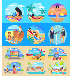 Freelance workers with laptops on exotic beaches vector