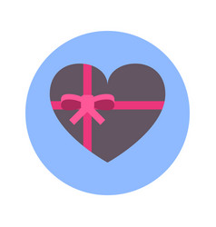 gift box in heart shape icon on blue round vector image