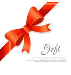 Gift red wide ribbon bright bow with two petals vector