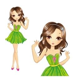 Girl In Green Dress Dancing vector
