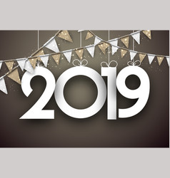 Gold festive 2019 new year card with flags vector
