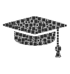 Graduation cap collage of squares and circles vector