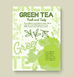 Green tea poster or banner typography design vector