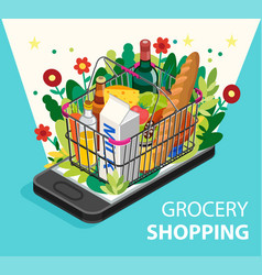 Grocery shopping online concept smartphone screen vector