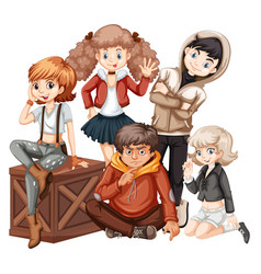 group of young teenager vector image