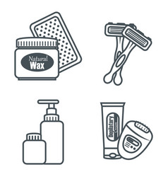Hair removal set products vector