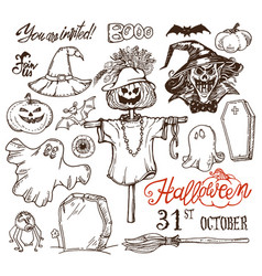 halloween night doodles vector image