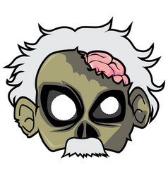 Halloween paper mask - physicist zombie vector