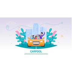 happy company people in car carpool vector image