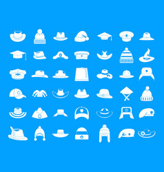 Hat icon blue set vector