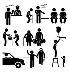Kind good hearted man helping people stick figure vector