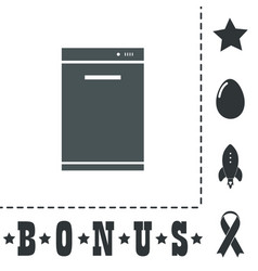 Kitchen - dishwasher icon sign and button vector