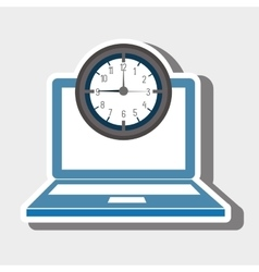 Laptop watch clock computer vector