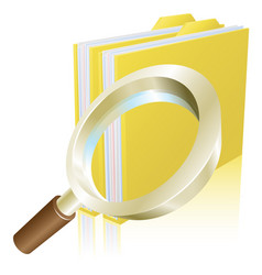 Magnifying glass data file folder search concept vector