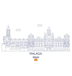 malaga city skyline vector image