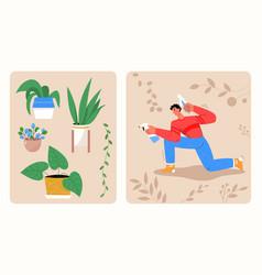man planting scenes set gardener holding shovel vector image