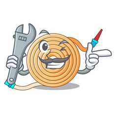Mechanic the water hose mascot vector