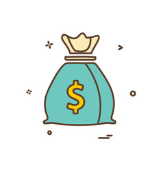 money bag dollar icon design vector image