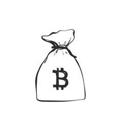 Money bag with currencies symbols bitcoin hand vector