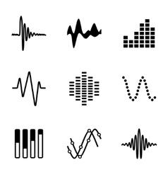 Music soundwave icon set vector