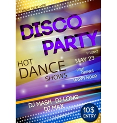 Night club disco party poster vector