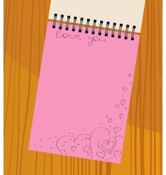 notebook with hearts vector image vector image