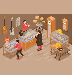 Pawn shop isometric background vector