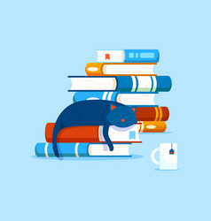 Piles of books domestic cat resting on a book vector