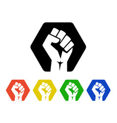 raised fist logo icons set - isolated illus vector image