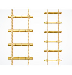 Realistic 3d detailed bamboo ladder set vector
