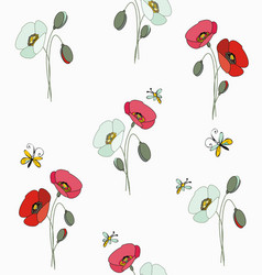 Red and white poppies with butterflies and bees vector