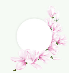 round paper with pink magnolia flowers vector image