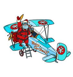 Santa claus gets on a retro plane christmas story vector
