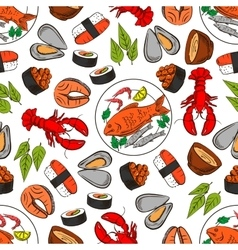Seafood and fish seamless wallpaper background vector