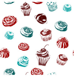 seamless background with sweets and cakes vector image