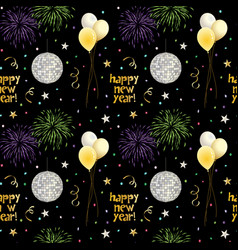 seamless new years eve pattern with balloons vector image