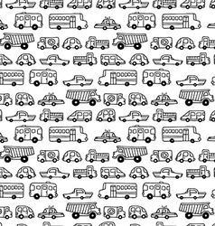 Seamless pattern of doodles cars vector