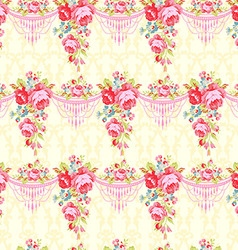 seamless pattern with red and pink roses vector image