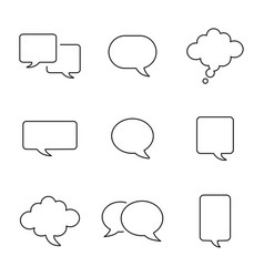 Set empty comic style speech bubbles design vector