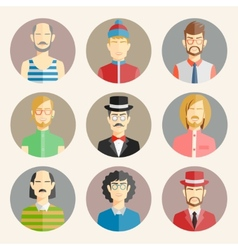 Set of nine male avatars vector