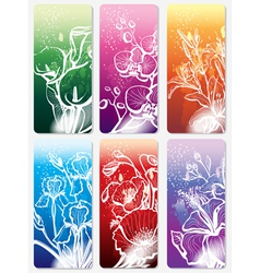 set of stickers with flower vector image vector image