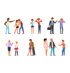 Set of teens and parents vector