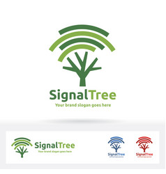 Signal tree logo wi-fi and tree symbol suitable vector