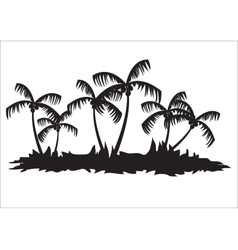 Silhouettes of palm tree forest vector