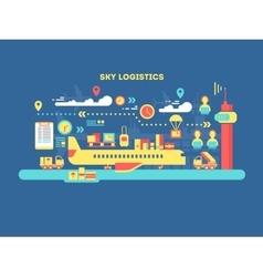 Sky logistics design flat vector image